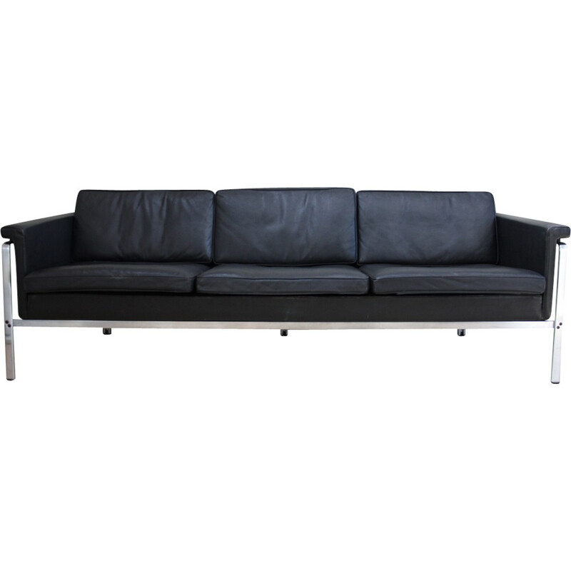 Model 6913 3-seater sofa in black leather by Hort Brüning for Kill International - 1960s