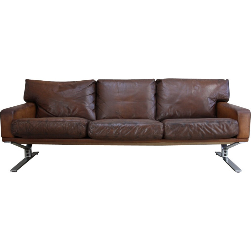 3-seater sofa in brown leather by Georg Thams for Polster Mobelfabrik - 1960s