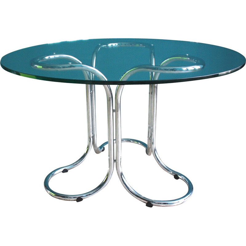 Vintage glass table with metal base - 1960s