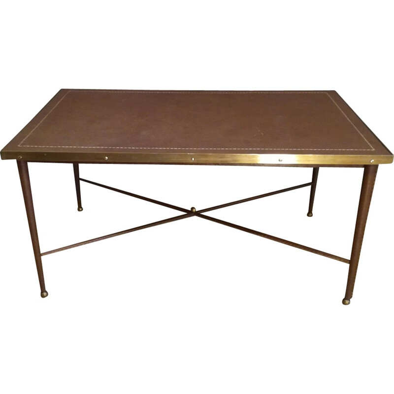 Vintage leather and brass coffe table - 1950s