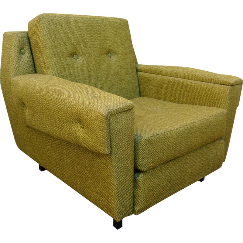 Armchair in green fabric with steel legs - 1950s