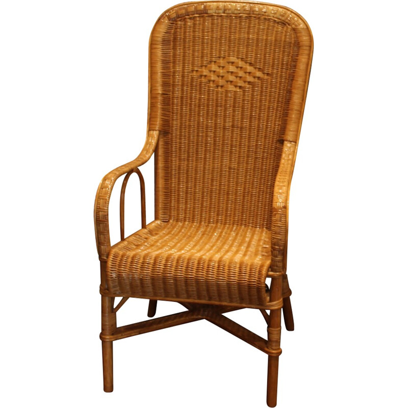 Wicker armchair with high back with honey color - 1950s