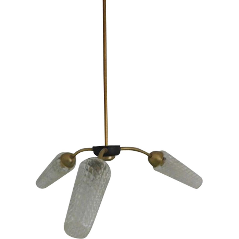 Brass and glass spider hanging lamp - 1960s