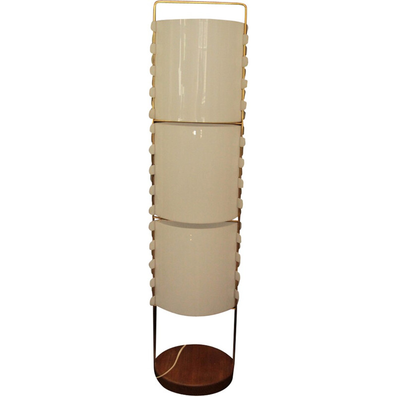 M1 floor lamp in brass, perspex and wood by Joseph-André Motte - 1950s
