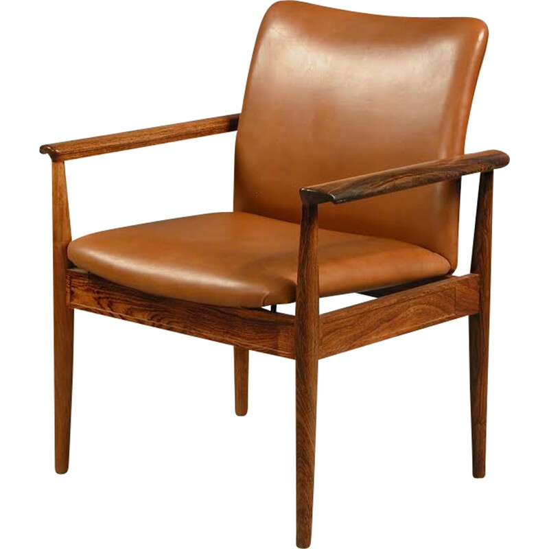 Armchair in rosewood and leather by Finn Juhl for Cado - 1960s