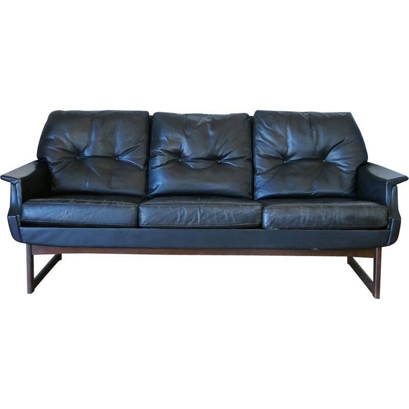 Scandinavian 3-seater leather sofa - 1960s