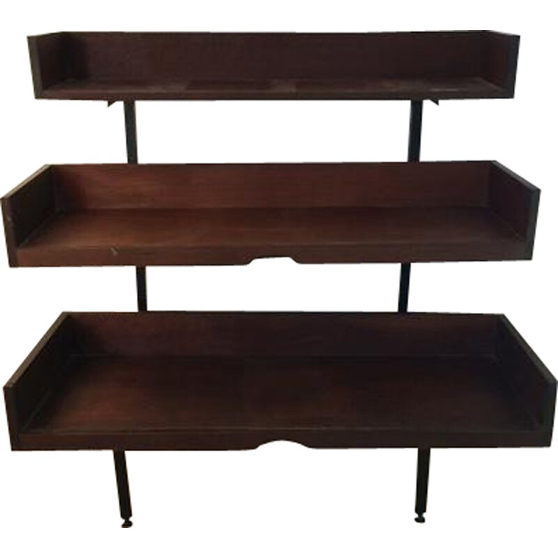 Brown rosewood shelf with three levels - 1960s