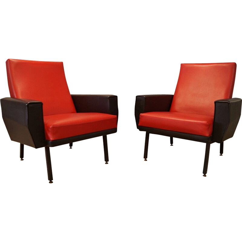 Pair of French design armchairs - 1950s