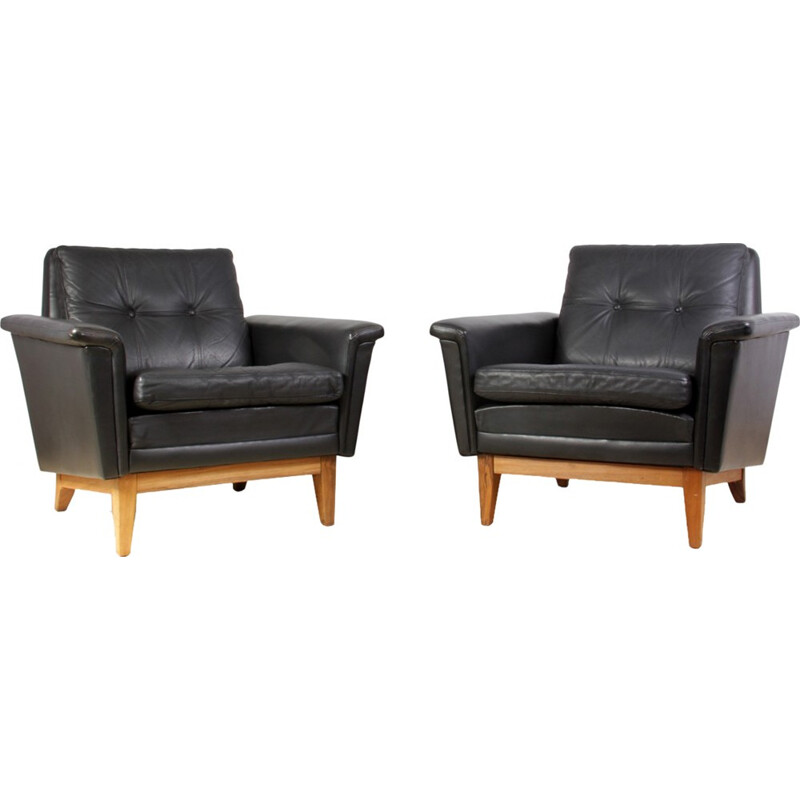 Pair of Mid Century Danish Leather and Rosewood armchairs - 1960s