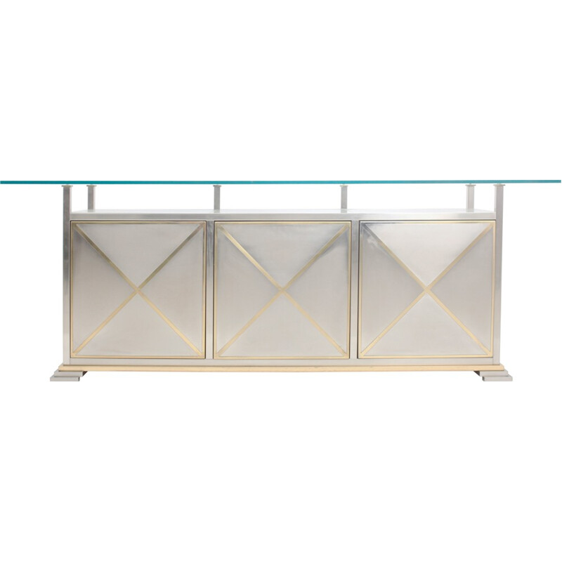 Credenza With Floating Glass Top by Maison Jansen - 1970s