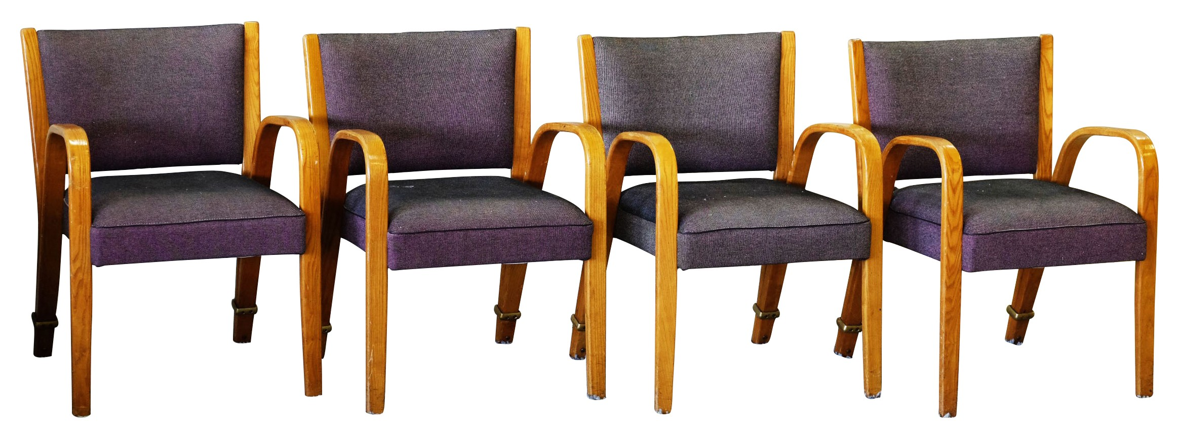 set of 4 armchairs bow wood manufacturer steiner 1950s design market. Black Bedroom Furniture Sets. Home Design Ideas
