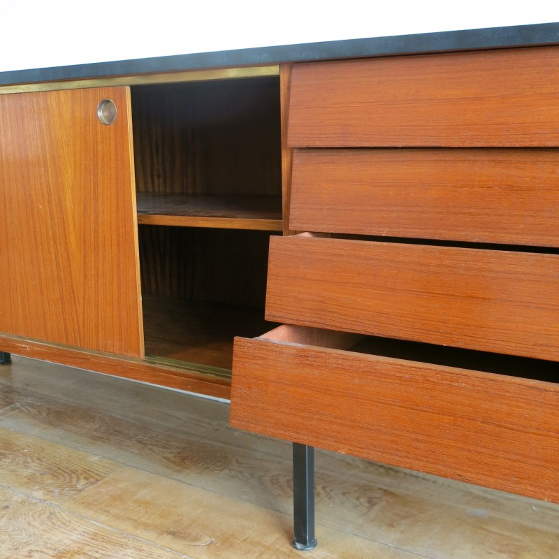 Sideboard in rosewood and metal with brass round handles ...