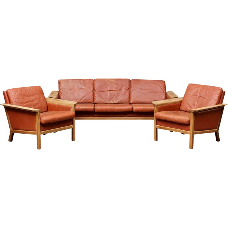 Danish living room set in brown leather - 1970s