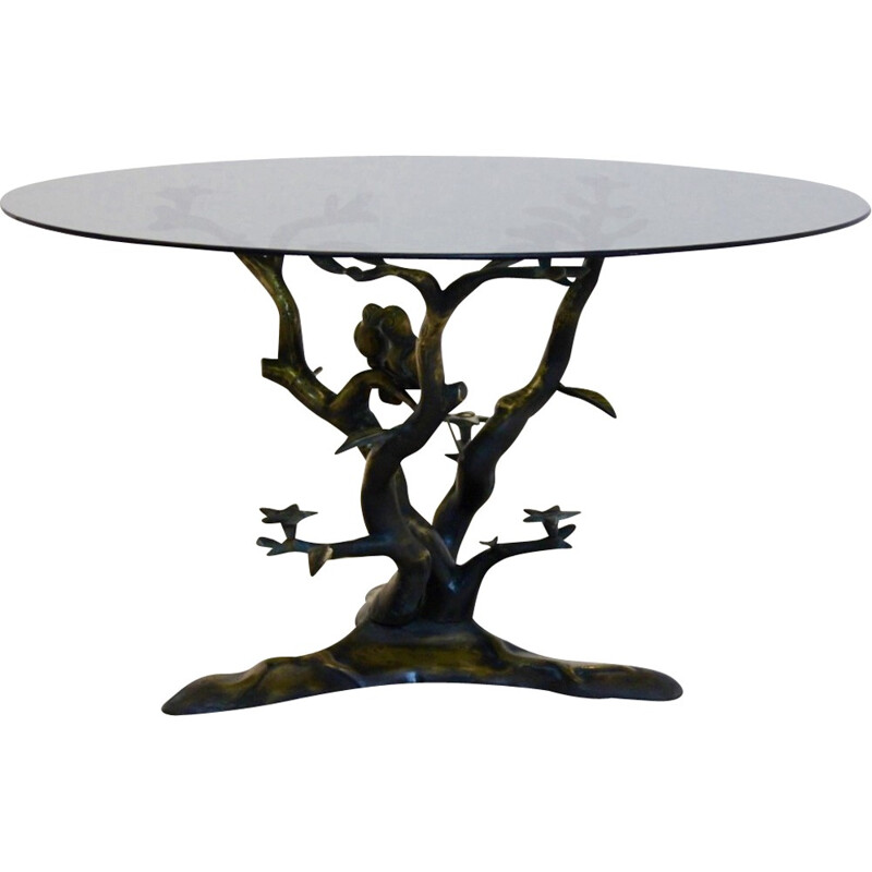 Sculptural brass tree LoveBirds coffee table by  Willy Daro - 1970s