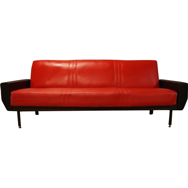 Red and black leatherette convertible sofa - 1950s