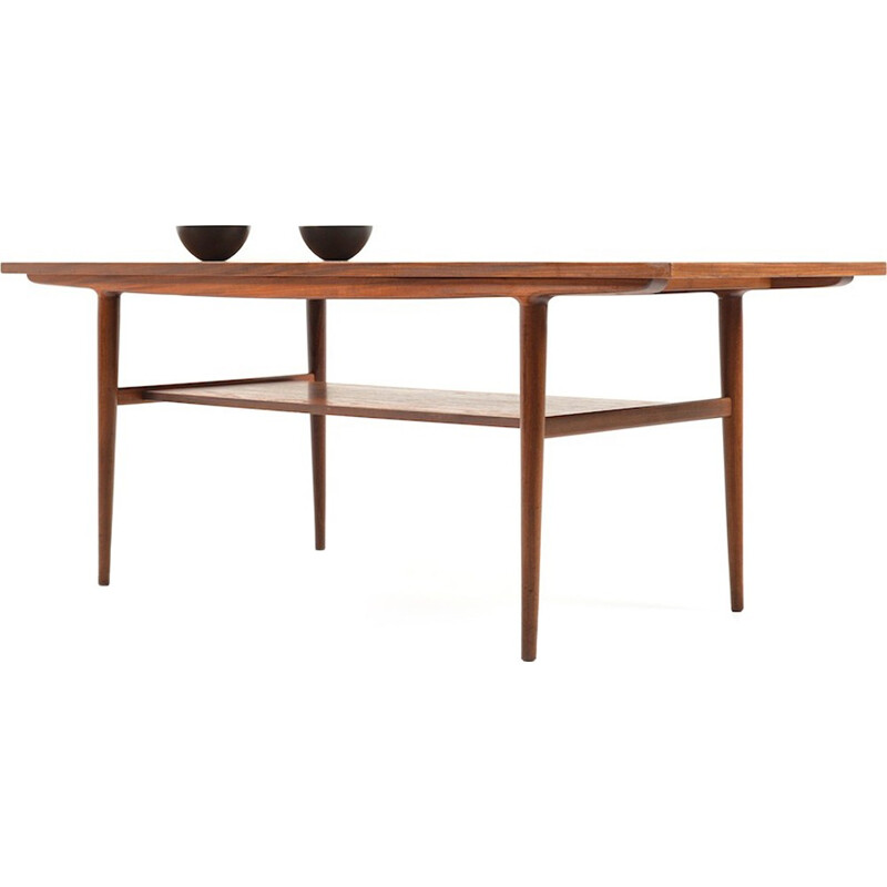 Danish teak table with double tray - 1960s