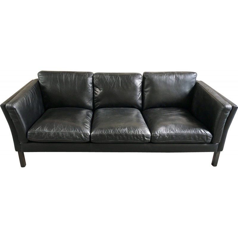 Vintage Black Leather Sofa   1960s