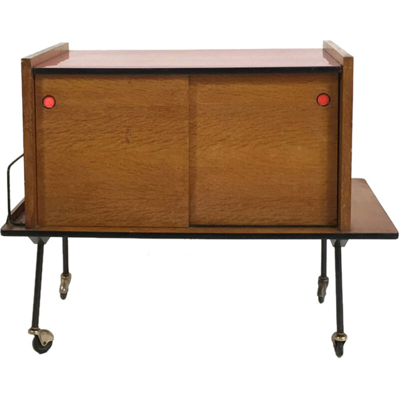 Little sideboard on casters with oak veneer and red formica - 1950s