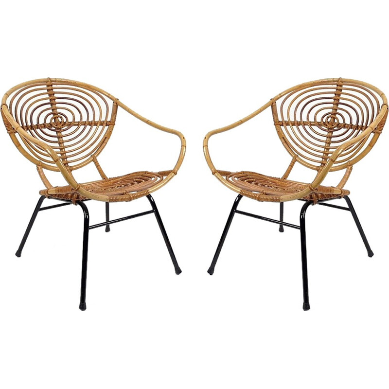 Pair of dutch rattan armchairs by Rohe Noordwolde - 1960s