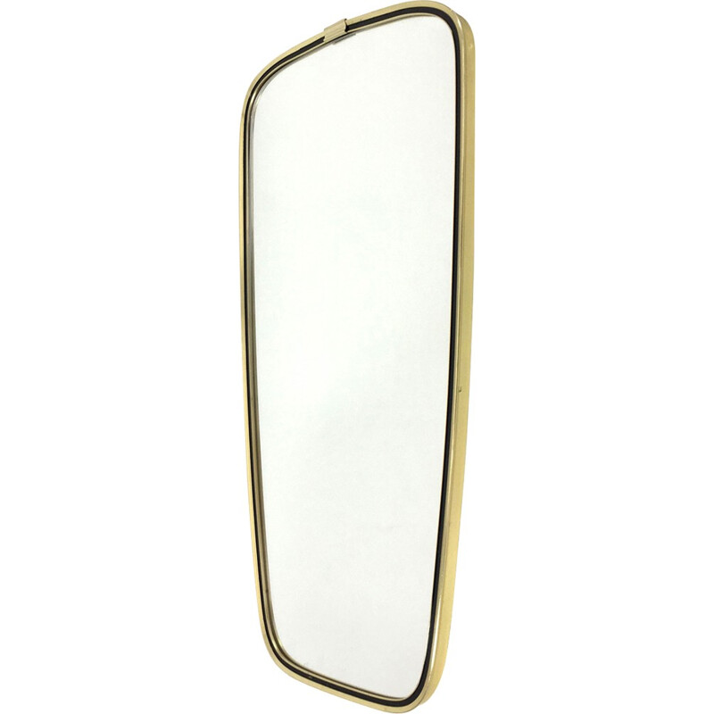 Modern free-shaped mirror with golden metal frame- 1960s