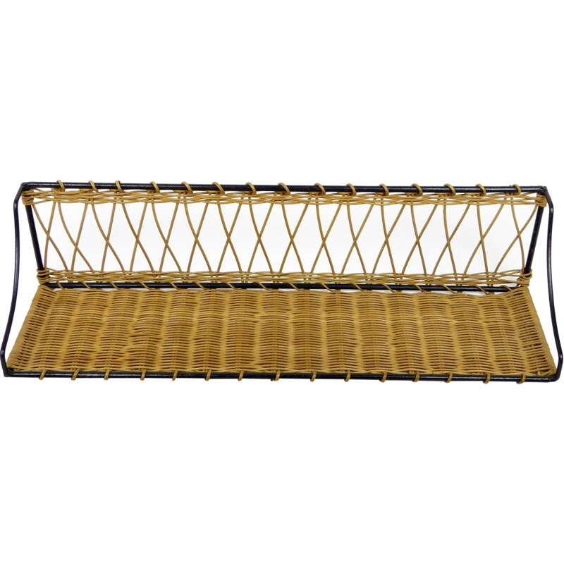 Library shelf in rattan braided on black lacquered metal - 1950s