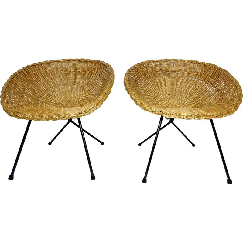Rattan armchairs in metal rattan in pairs - 1950