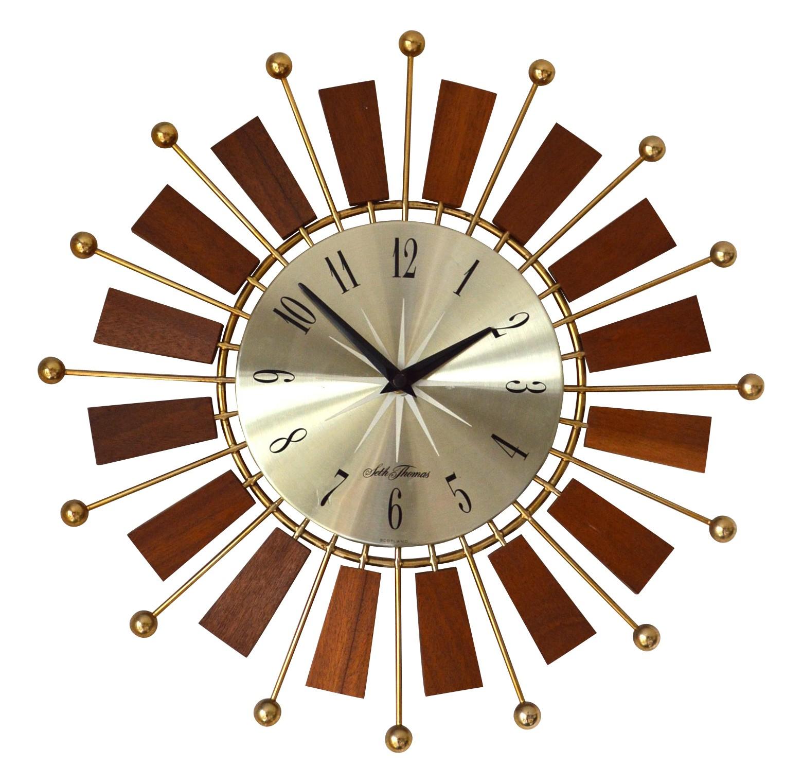 vintage starburst wall clock mid century modern sunburst ato