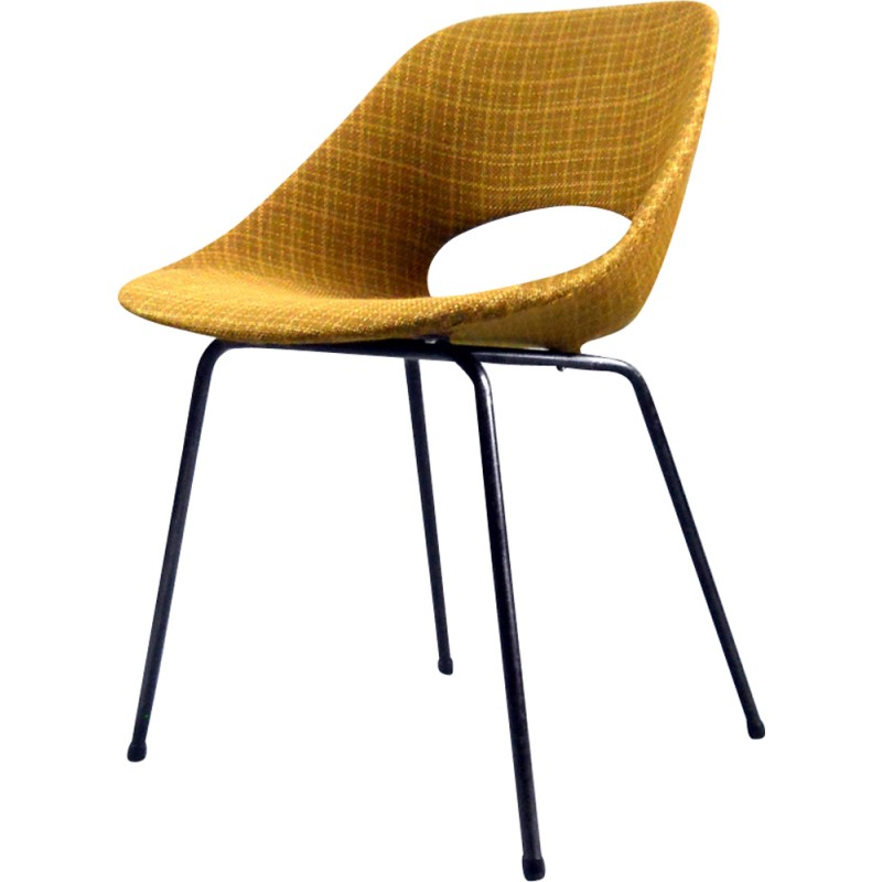 set of 4 tulip chairs in aluminum and fabric by pierre guariche for