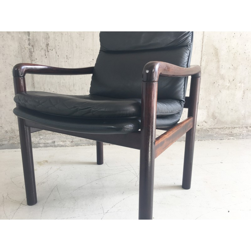 Previous  sc 1 st  Design Market & Mid century Danish leather armchair with lacquered rosewood frame ...