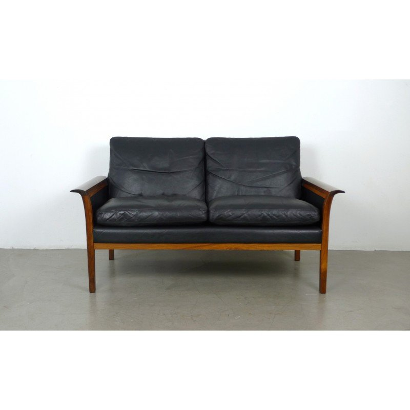 Vintage Designer Furniture Two Seater Black Leather And Rosewood Sofa By Hans Olsen For