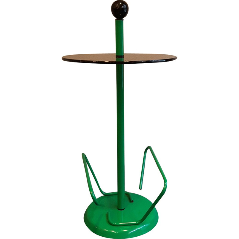 Green plastic lacquered metal  pedestal table - 1980s
