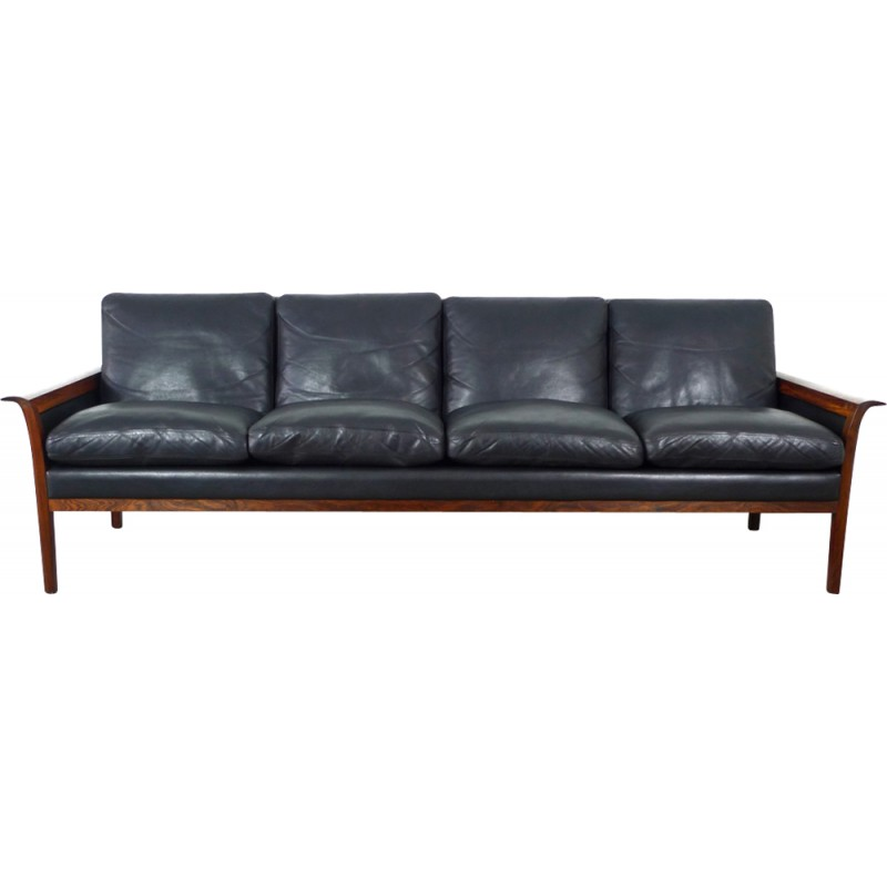 4 Seater Black Leather And Rosewood Sofa By Hans Olsen For Vatne Mobler 1960s