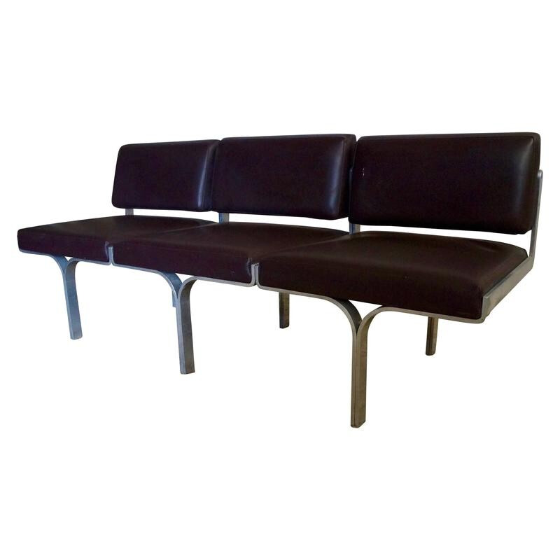 Brown bench in steel and leatherette by John Behringer  - 1960s