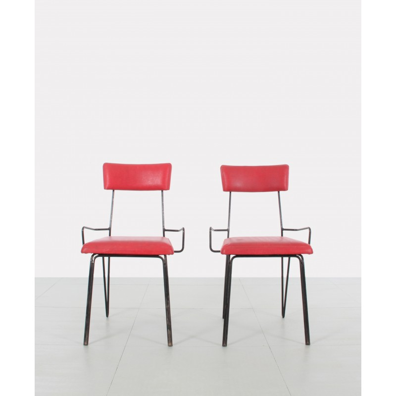 Pair Of Red Metal Chairs, Soviet Design   1960s. Vintage Design Furniture.  Pair Of Red Metal Chairs ...