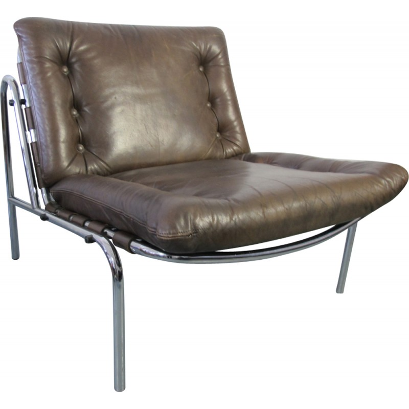 vintage leather chrome kyoto lounge chair by martin visser for