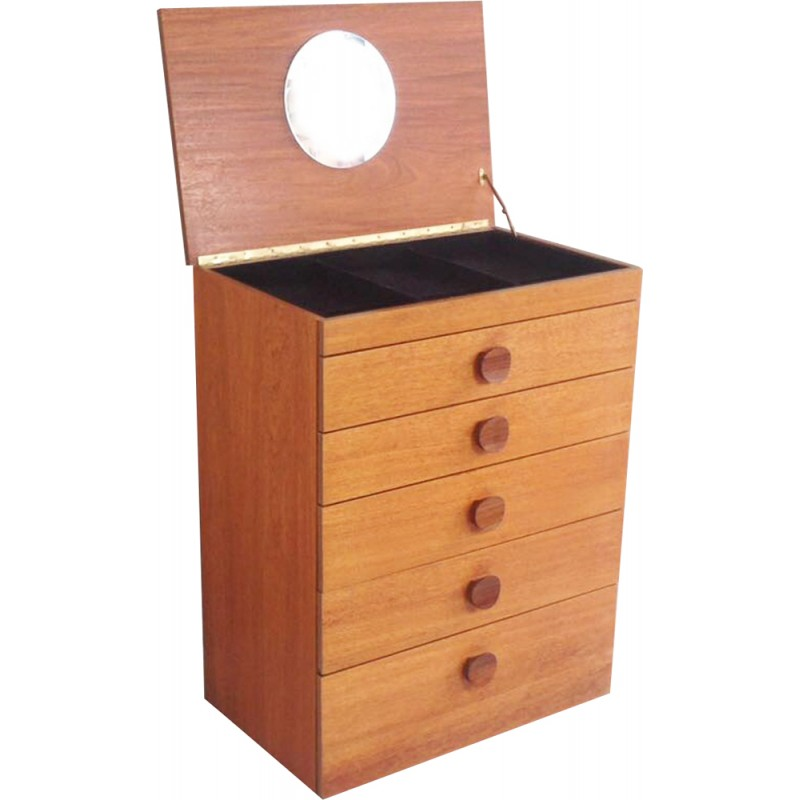 Mid Century Teak Chest Of Drawers With Lift Up Mirror And Jewellery Tray 1970s