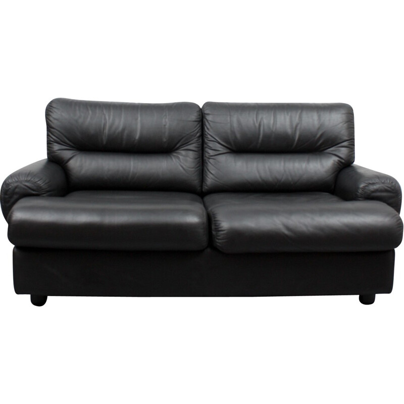 Two-seater black leather armchair - 1970s
