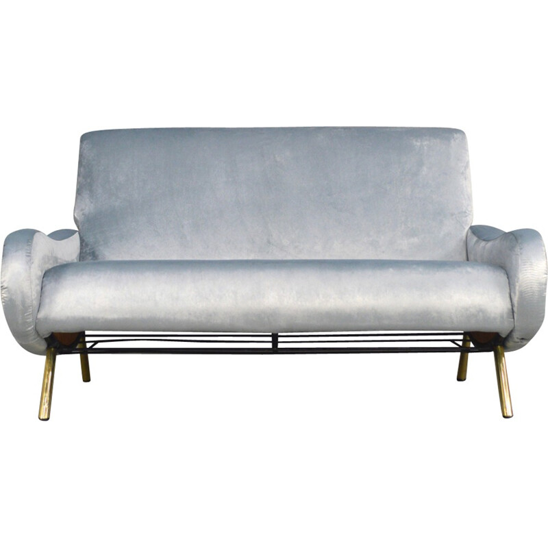 2-seater blue sofa in velvet and brass by Marco Zanuso produced by Arflex  - 1950s