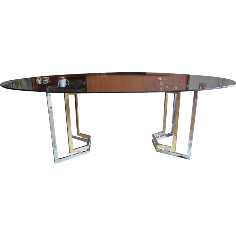 Roche Bobois Smoked Glass Dining Table, Chrome And Brass   1970s