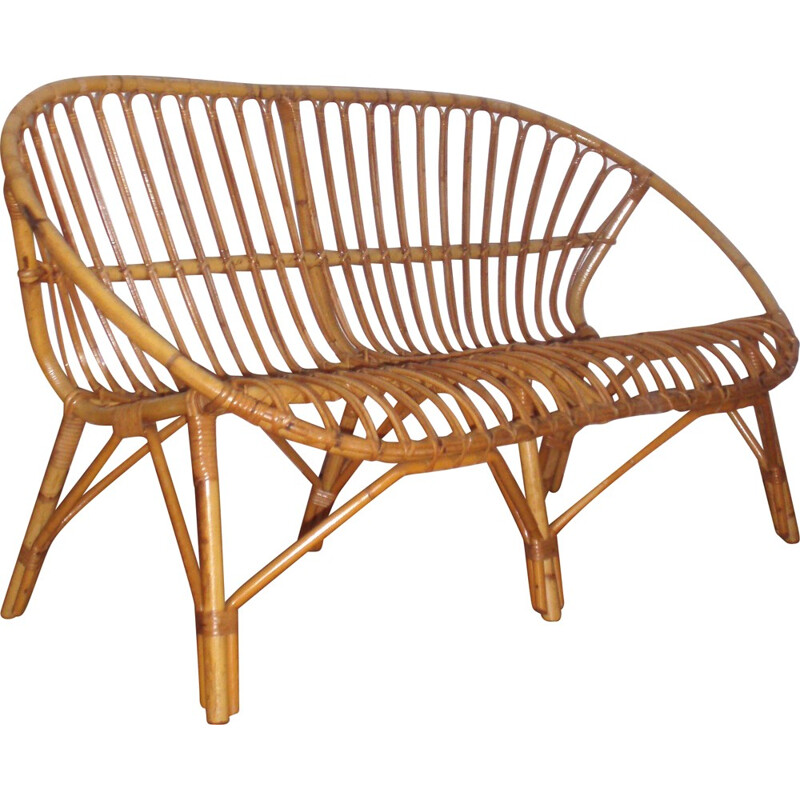 Rattan and bamboo 2 seater bench in basket shape - 1960s
