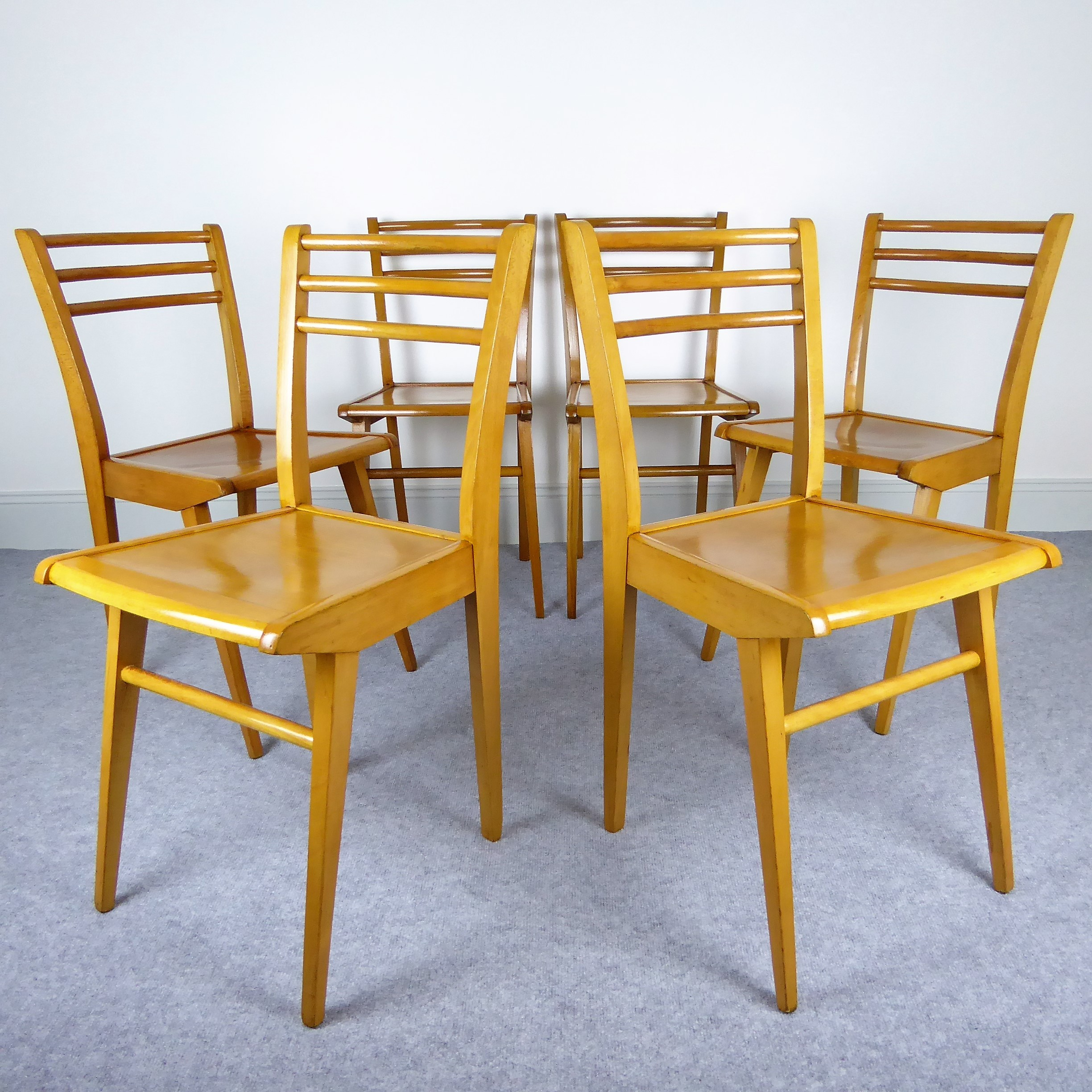 Set of 6 beechwood chairs with compass legs by luterma 1950s