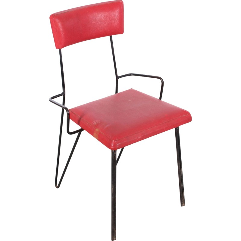 Pair Of Red Metal Chairs, Soviet Design   1960s