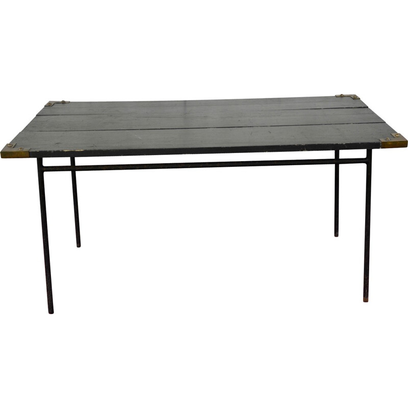 Black dining table in metal by Jacques Adnet - 1950s