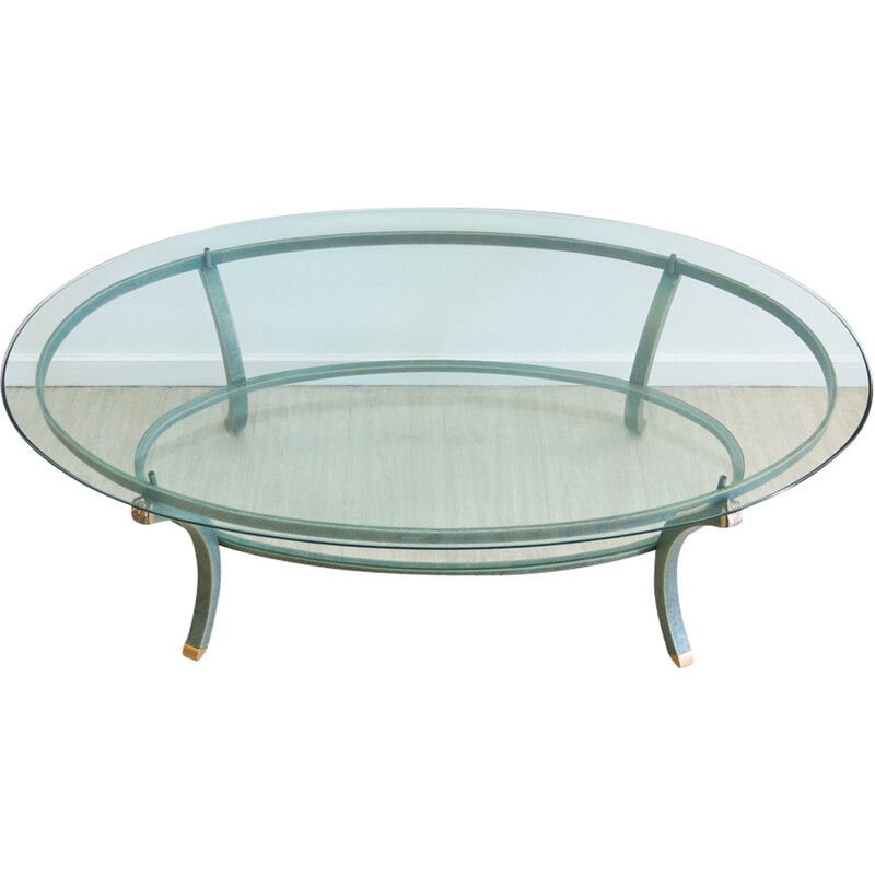 Glass and metal coffee Table by Pierre Vandel - 1970s