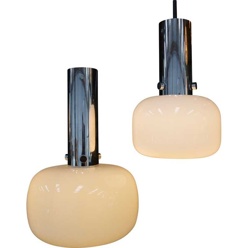 Pair of Glashütte Limburg pendant lamp, Germany - 1970s