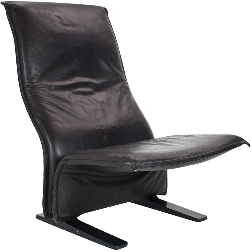 Black leather Concorde F784 lounge chair by Pierre Paulin for Artifort - 1960s