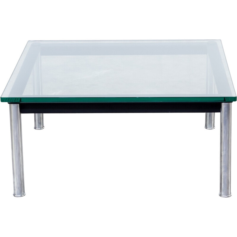 Black coffee table in glass and metal by Le Corbusier produced by Cassina - 1980s