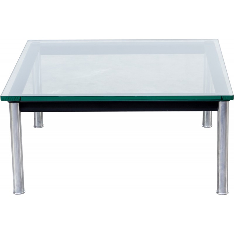 Black Coffee Table In Glass And Metal By Le Corbusier Produced By Cassina    1980s