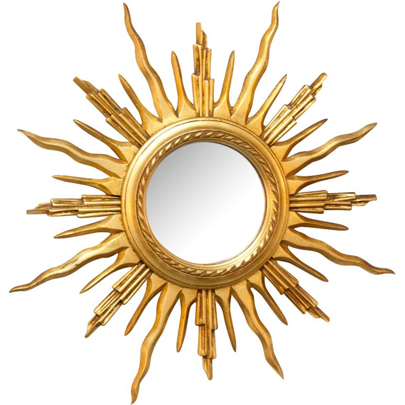 Curved sun mirror with golden frame - 1960s