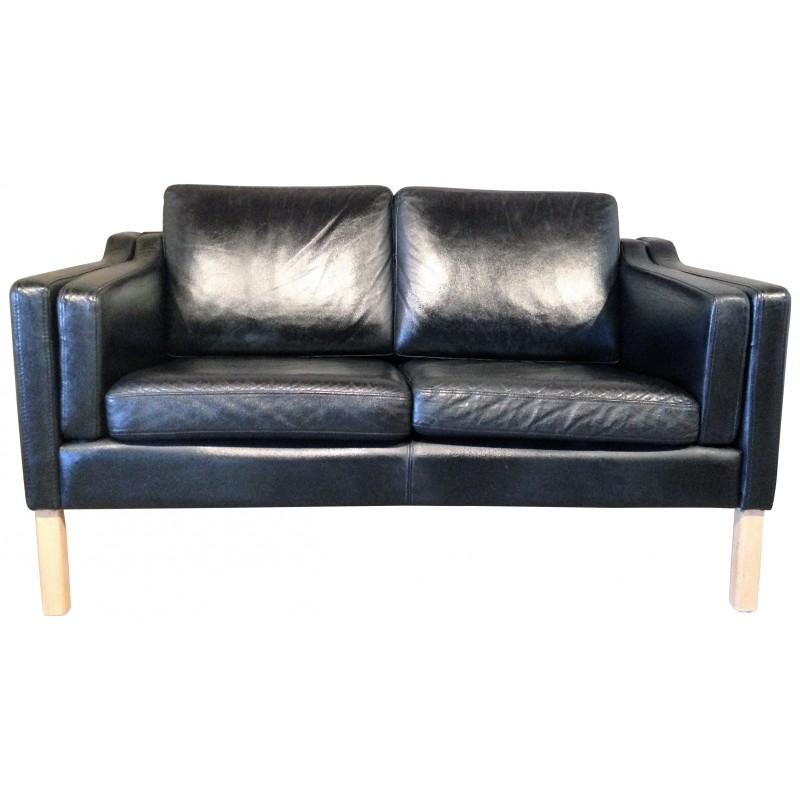 Scandinavian 2 seater sofa in black leather 1960s - Canape scandinave vintage ...